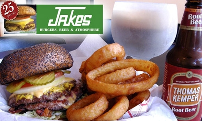 Jake's Burgers - Multiple Locations: $5 for $10 Worth of American Classics at Jake's Burgers
