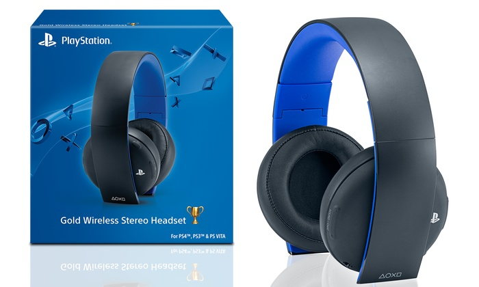 sony playstation gold wireless stereo headset for ps4 and. Black Bedroom Furniture Sets. Home Design Ideas