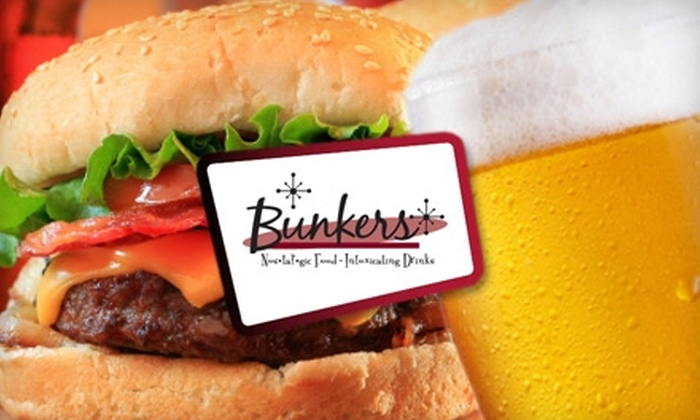 Bunkers Nostalgic Lounge & Eatery - West Allis: $10 for $20 Worth of American Fare and Drinks at Bunkers Nostalgic Lounge & Eatery