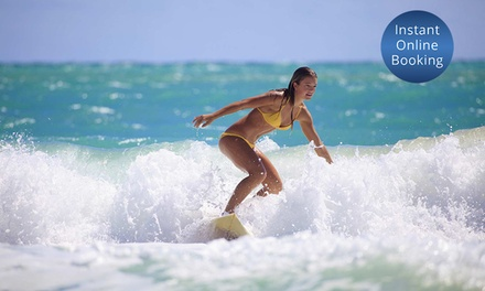 90Minute Surf Lesson with Board Hire for One $29 or Two People $57 at Surfing Services Australia Up to $130 Value