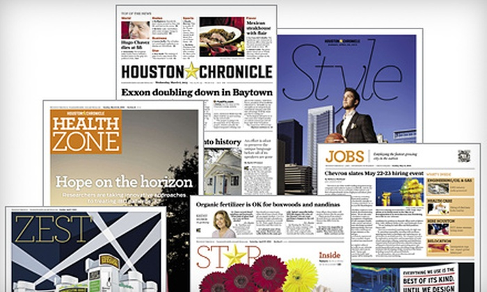 """Houston Chronicle: Six-Month or One-Year Wednesday and Sunday Delivery to the """"Houston Chronicle"""" (Up to 69% Off)"""