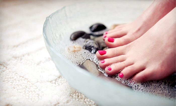 Angela Nails And Spa - Cypress Park: One Deluxe Pedicure or One or Two Gel Manicures with Deluxe Pedicures at Angela Nails And Spa (Up to 54% Off)