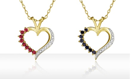 Gemstone & Diamond Accent Heart Pendants. Multiple Colors Available.