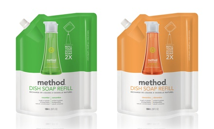Method Pump Dish Soap Refills in Juicy Pear or Lemon Mint; 6-Pack of 36 fl. oz. Pouches + 5% Back in Groupon Bucks