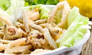 O Scugnizzo Nammurato: Menu con antipasti, 1 kg di frittura mista di pesce, vino e dolce a Ostia