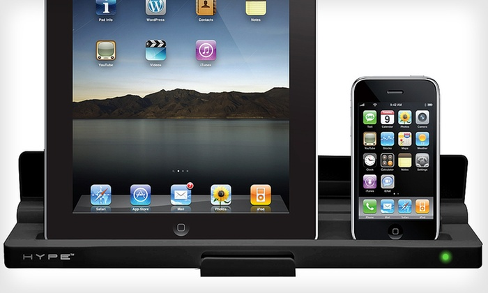 Hype Dual Charging Dock for iPad, iPhone, and iPod: $24.99 for a Hype Dual Charging Dock for iPad, iPhone, and iPod ($79.99 List Price). Free Shipping and Free Returns.