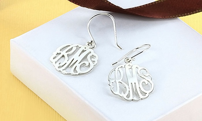 Monogram Online: Custom Monogram Earrings in Sterling Silver or Gold Over Sterling Silver from Monogram Online (Up to 79% Off)