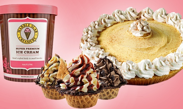 Marble Slab Creamery - Multiple Locations: Three Half-Litres of Ice Cream, Two Ice Cream Pies, or 12 Ice Cream Cupcakes at Marble Slab Creamery (Up to Half Off)