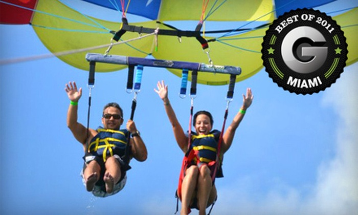 Aquaworld Miami - Virginia Key: $49 for a Two-Person Parasailing Ride from Aquaworld Miami in Key Biscayne ($150 Value)