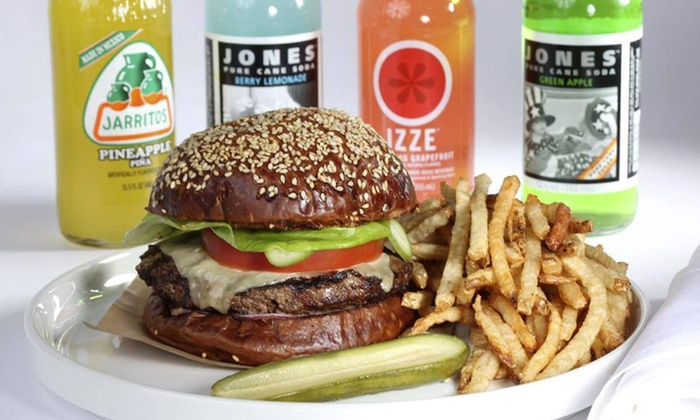 Blanc Burgers + Bottles - Multiple Locations: Burger Meal for Two, with Two Burgers and One Side at Blanc Burgers + Bottles (Up to 48% Off)