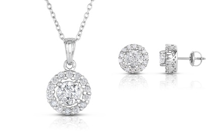1.00 or 2.00 CTTW Genuine Round Diamond Earrings or Pendant from $999.99–$1,799.99