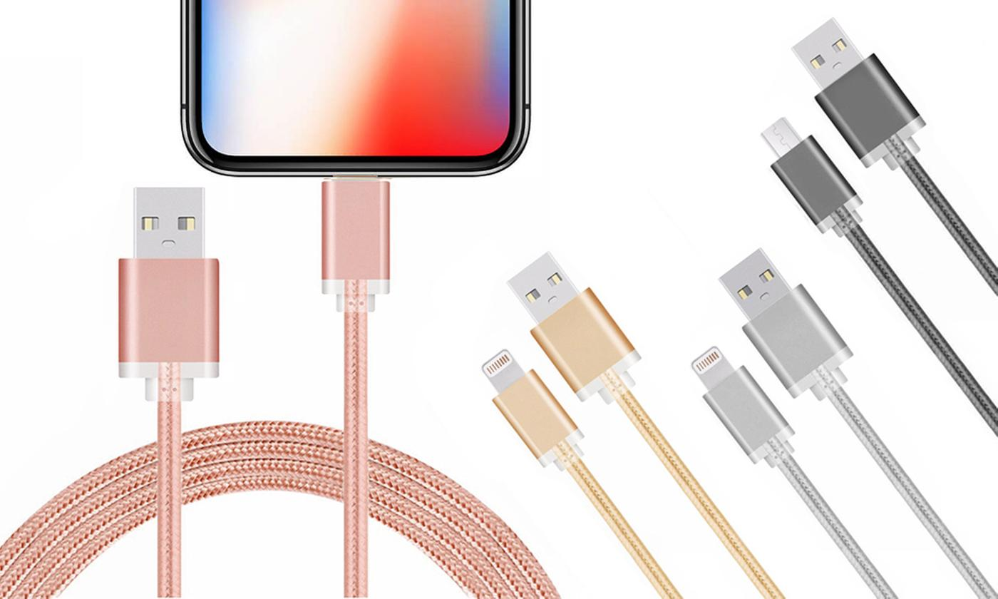 One, Two or Four FX Powabud Braided Cables for iPhone