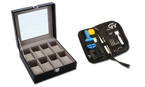 8 Compartment Watch Box With 13-piece Watch Repair Kit