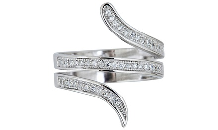 Micropave 3-Strand Cubic Zirconia Ring in Sterling Silver
