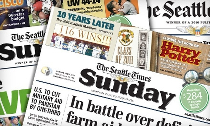 "The Seattle Times: $20 for a 26-Week Print and Digital Sunday Subscription to ""The Seattle Times"" ($81.90 Value)"