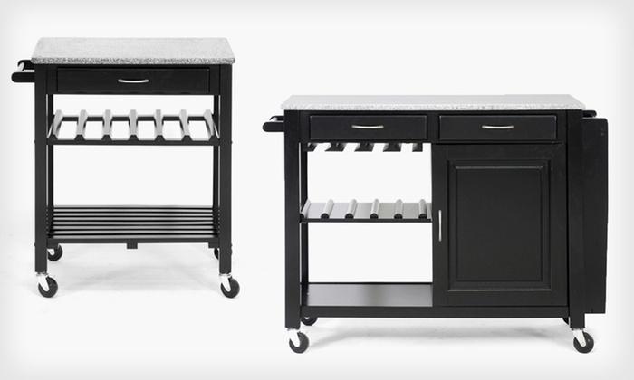Granite-Top Kitchen Carts: Baxton Studio Granite-Top Wheeled Kitchen Cart or Island (Up to Half Off)