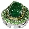 11.00 CTTW Genuine Emerald, Diamond, and Tsavorite Ring