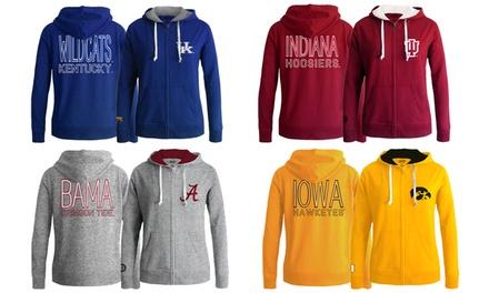 Women's NCAA Full Zip Hoodie. Schools A-K Available.