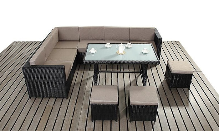 groupon goods global gmbh rattan effect sofa dining set in choice of colour from