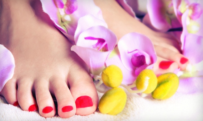 Just 4 Look Nails - Lakewood: $35 for a Shellac Manicure and Spa Pedicure at Just 4 Look Nails ($70 Value)