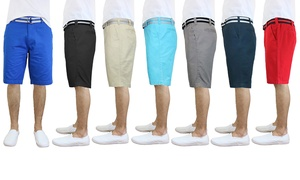 Men's Flat Front Slim Fit Cotton Shorts with Belt at Men's Flat Front Slim Fit Cotton Shorts with Belt, plus 6.0% Cash Back from Ebates.