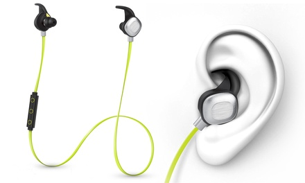 Photive Silverbuds Premium Sweat-Proof Sports Bluetooth 4.0 Earbuds with Mic and 10-Hour Battery