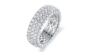 18K White Gold Plated Eternity Ring Made with Swarovski Elements