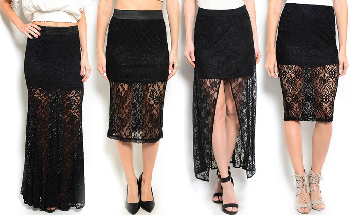Women's Black Lace Skirts | Groupon Goods