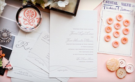 Wedding Invitations, Custom Stationery, and Fine Paper Goods from Delphine (Up to 63% Off). Three Options Available.
