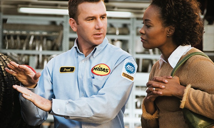 Midas - Multiple Locations: Auto-Maintenance Services at Midas (Up to 75% Off). Four Options Available.