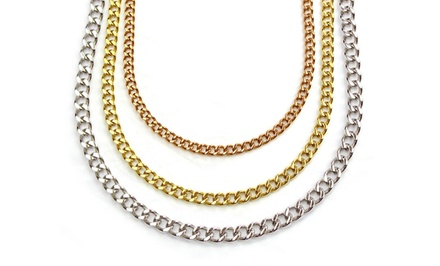 Stainless Steel, 18K Gold-, or 18K Rose-Gold-Plated Men's Curb Chain