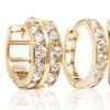 1- or 2-Row CZ Huggie Earrings in 10K Gold