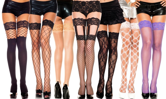 8082e98de65e7 Women's Thigh-High Lace-Top Stockings in Regular and Plus Sizes