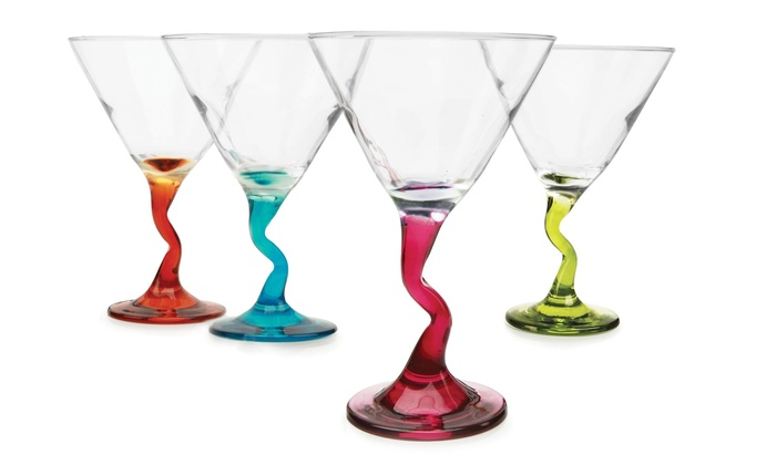 Set Of 4 Snazzy Colored Stem Martini Gles
