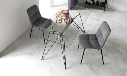 Set di 4 sedie in velluto cerlak disponibili in 2 colori for Sedie design velluto