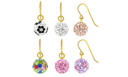 Children's Swarovski Elements Crystal Dangle Earrings in 14K Gold