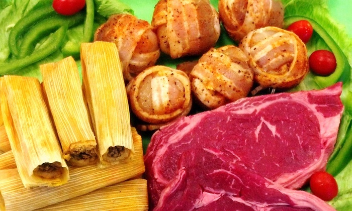 David's Fine Meats & Grill - Pearland: Grill Gift Box for Two or Four with Ribeyes, Chicken Diablos, and PorkTamales at David's Fine Meats & Grill (40% Off)