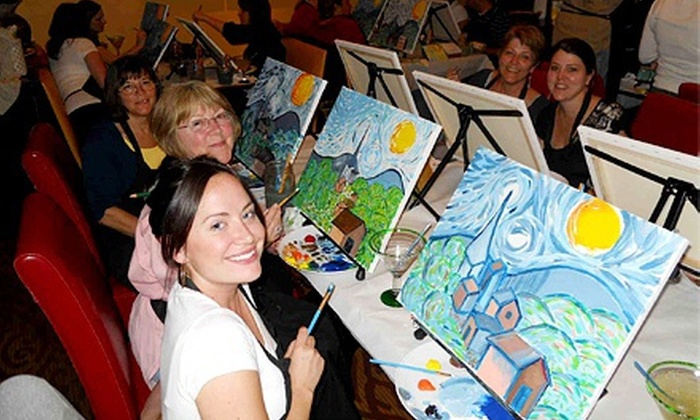 Wine and Canvas - Multiple Locations: Painting Class for One or Two at Wine and Canvas (Up to 54% Off). Five Locations Available.