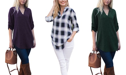 Reflection Women's Notch-Neck Roll-Tab Blouse. Plus Sizes Available.