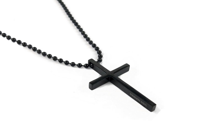 Stainless steel cross pendant groupon goods mens black stainless steel cross pendant mens black stainless steel cross pendant aloadofball Images