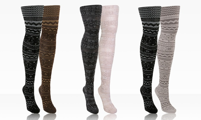 Muk Luks Patterned Microfiber Tights 2-Pack: 2-Pack of Muk Luks Patterned Microfiber Tights. Multiple Styles Available. Free Shipping.