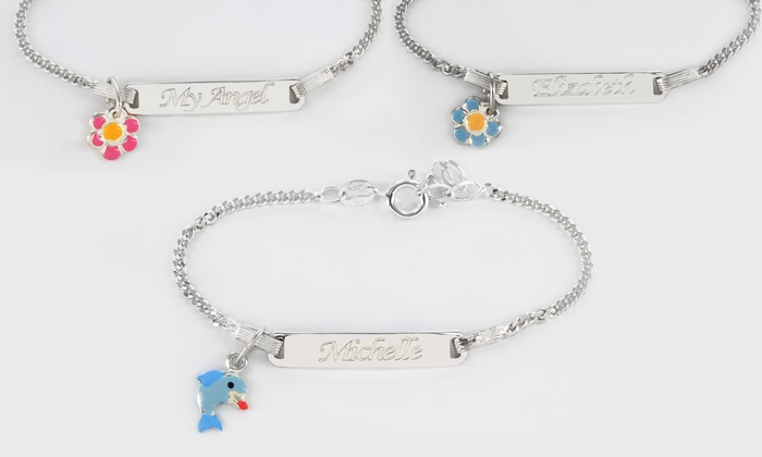 Monogram Online: $24.99 for a Personalized Kids' Bracelet with Pendant in Sterling Silver from Monogram Online ($69 Value)
