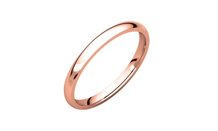 14K Rose Gold Plated 2mm Comfort Fit Italian Wedding Bands