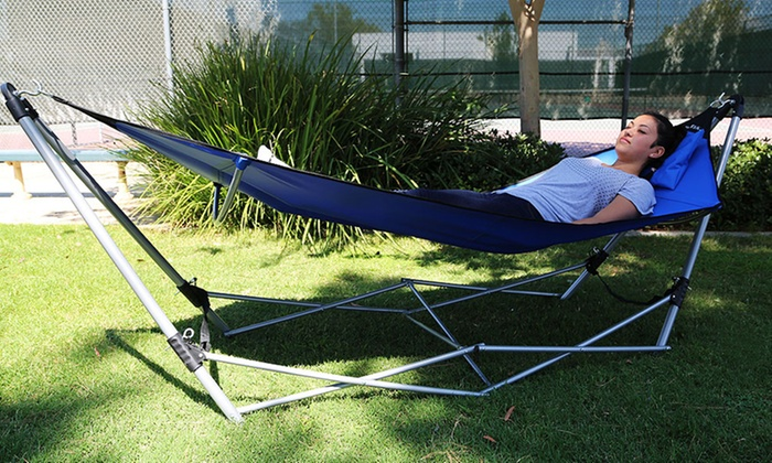 Global Phoenix Foldable Hammock with Carrying Bag and Pillow: Foldable  Hammock with Carrying Bag and ... - Foldable Hammock Groupon Goods