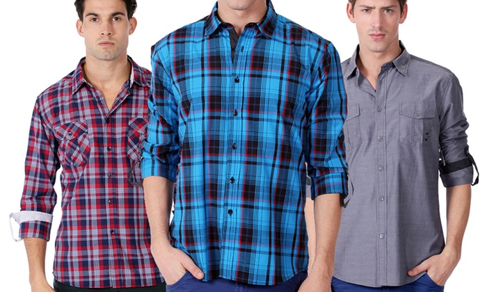 One90One Men's Slim-Fit Button-Downs: One90One Men's Slim-Fit Button-Downs. Multiple Styles Available. Free Shipping and Returns.