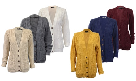 Women's Cable Knit Cardigan in a Choice of Size and Colour