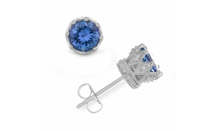 2 CTTW Diamond and Tanzanite Stud Earrings in 14K White Gold