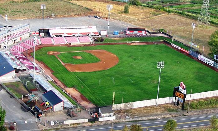 Salem-Keizer Volcanoes - Volcanoes Stadium: Salem-Keizer Volcanoes Baseball Game for Two or Four at Volcanoes Stadium on July 25, 26, or 27 (Up to 56% Off)