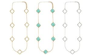 Long Quatrefoil Fashion Necklace