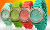 Crystal-Embellished Silicone Braid Watch: Crystal-Embellished Silicone Braid Watches. Multiple Colors Available. Free Returns.